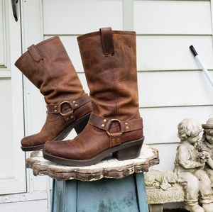 Distressed Leather Harness Moto Engineer Boots